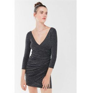 UO Thea Sparkly Surplice Black Mini Dress M
